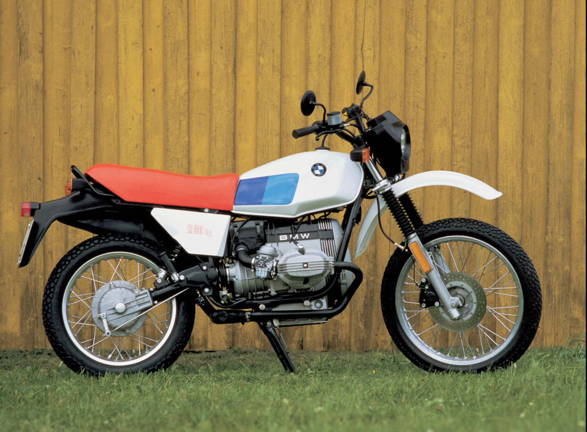 1980 BMW R 80 G/S motorcycle in white with a red saddle