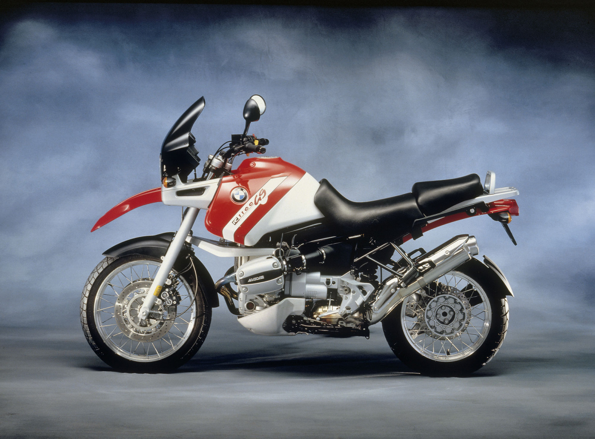 red and white bmw r1100gs motorcycle